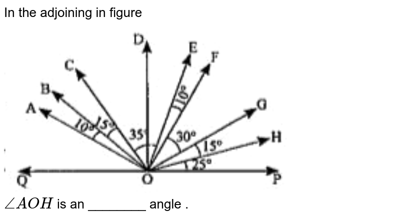 """In the adjoining in figure <br> <img src=""""https://doubtnut-static.s.llnwi.net/static/physics_images/ND_SM_MAT_VI_C05_E13_043_Q01.png"""" width=""""80%""""> <br> `angleAOH` is an ________ angle ."""