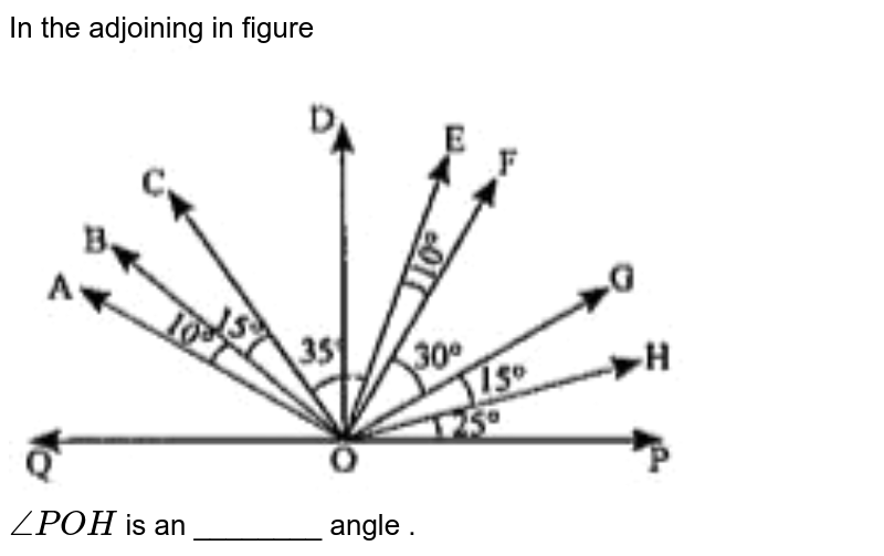 """In the adjoining in figure <br> <img src=""""https://doubtnut-static.s.llnwi.net/static/physics_images/ND_SM_MAT_VI_C05_E13_044_Q01.png"""" width=""""80%""""> <br> `anglePOH`  is an ________ angle ."""