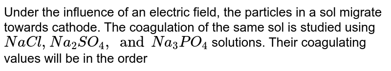 Under the influence of an electric field, the particles in a sol migrate towards cathode. The coagulation of the  same sol is studied using `NaCl, Na_2 SO_4, and Na_3 PO_4` solutions. Their coagulating values will be in the order