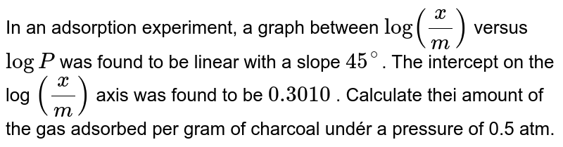 In an adsorption experiment, a graph between log (w/m) versus log P was found to be linear with a slope of `45^@`. The intercept on the log (x/m) axis was found to be 0.3010. Calculate the amount of the gas adsorbed per gram of charcoal under a pressure of 0.5.atm.