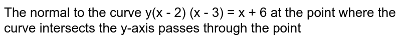 The normal to the curve y(x - 2) (x - 3)  = x + 6 at the point where the curve intersects the y-axis passes through the point