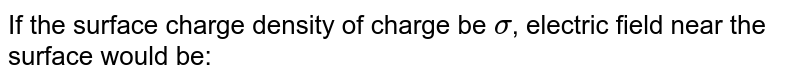 If the surface charge density of charge be `sigma`, electric field near the surface would be: