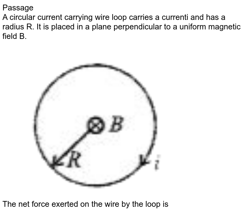 """Passage  <br> A circular current carrying wire loop carries a currenti and has a radius R. It is placed in a plane perpendicular to a uniform magnetic field B.  <br> <img src=""""https://doubtnut-static.s.llnwi.net/static/physics_images/BRL_JEE_MN_ADV_PHY_XII_V02_C02_E03_034_Q01.png"""" width=""""80%""""> <br> The net force exerted on the wire by the loop is"""