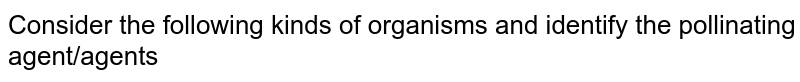 Consider the following kinds of organisms and identify the pollinating agent/agents