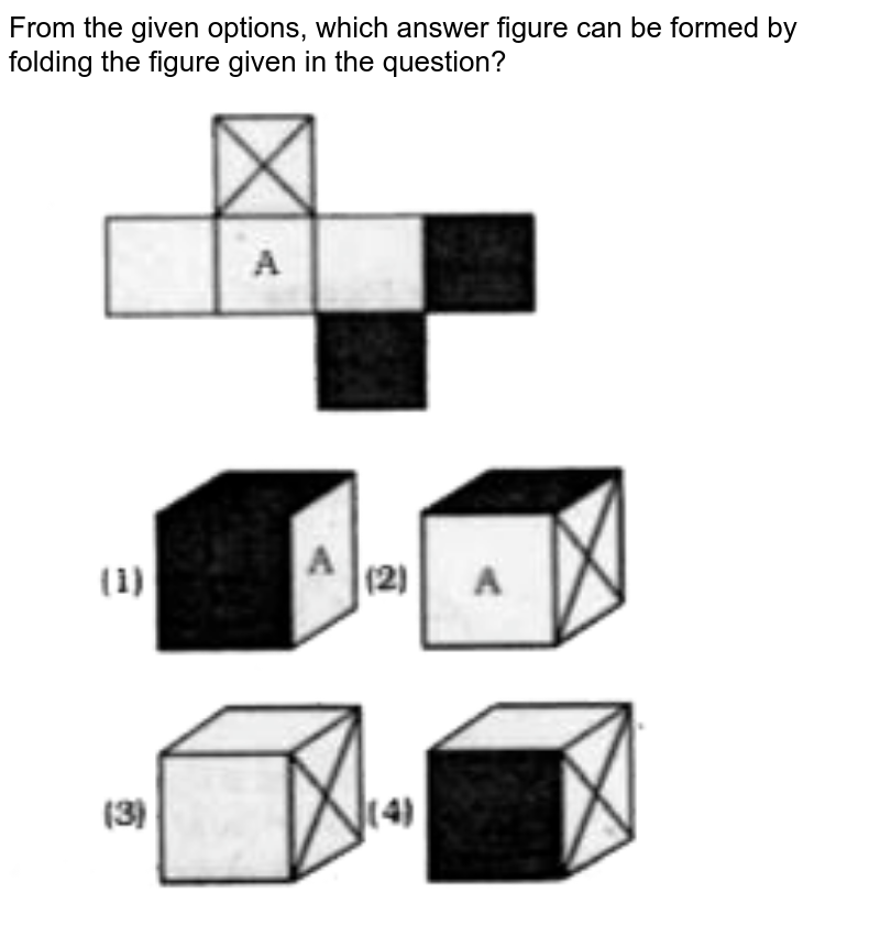 """From the given options, which answer figure can be formed by folding the figure given in the question? <br> <img src=""""https://doubtnut-static.s.llnwi.net/static/physics_images/KRN_SSC_REAS_SP_C15_E02_089_Q01.png"""" width=""""80%"""">"""
