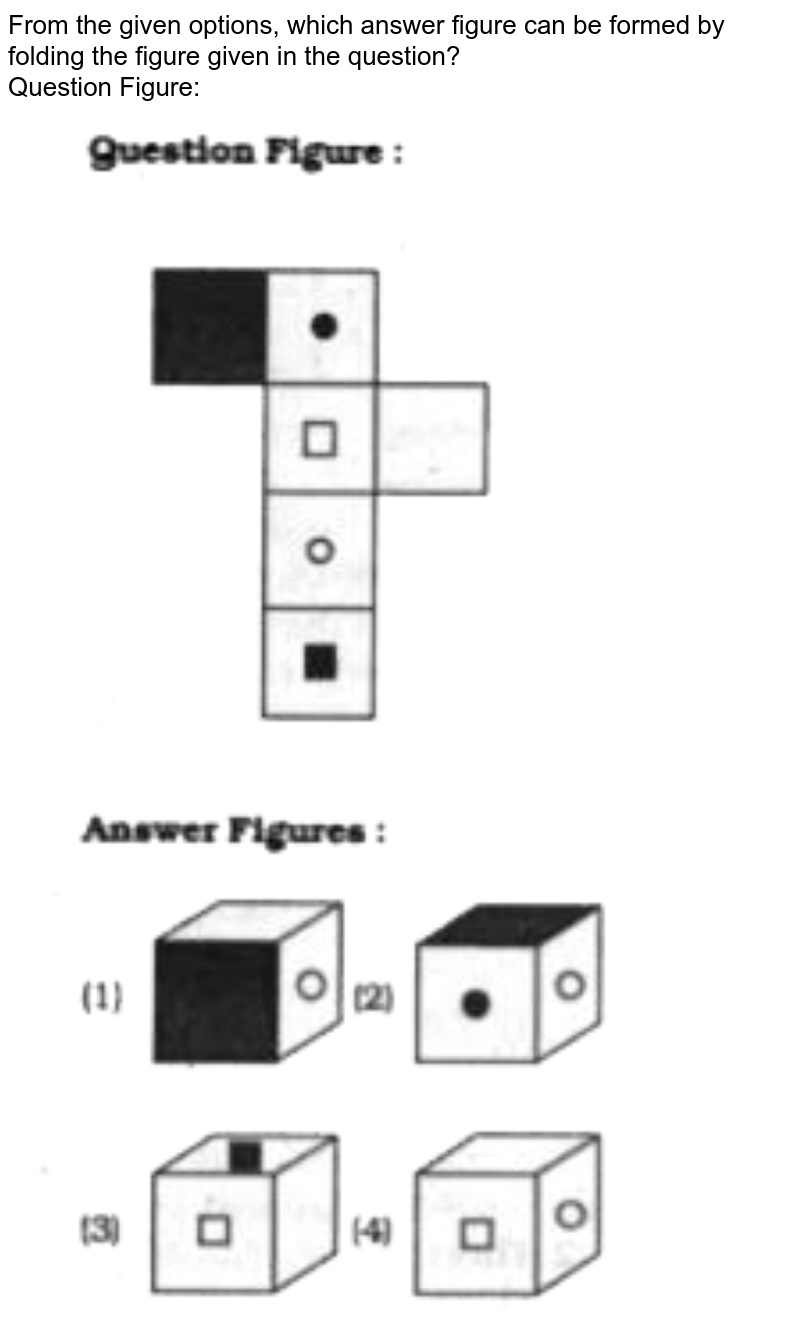 """From the given options, which answer figure can be formed by folding the figure given in the question? <br> Question Figure:  <br> <img src=""""https://doubtnut-static.s.llnwi.net/static/physics_images/KRN_SSC_REAS_SP_C15_E02_093_Q01.png"""" width=""""80%"""">"""