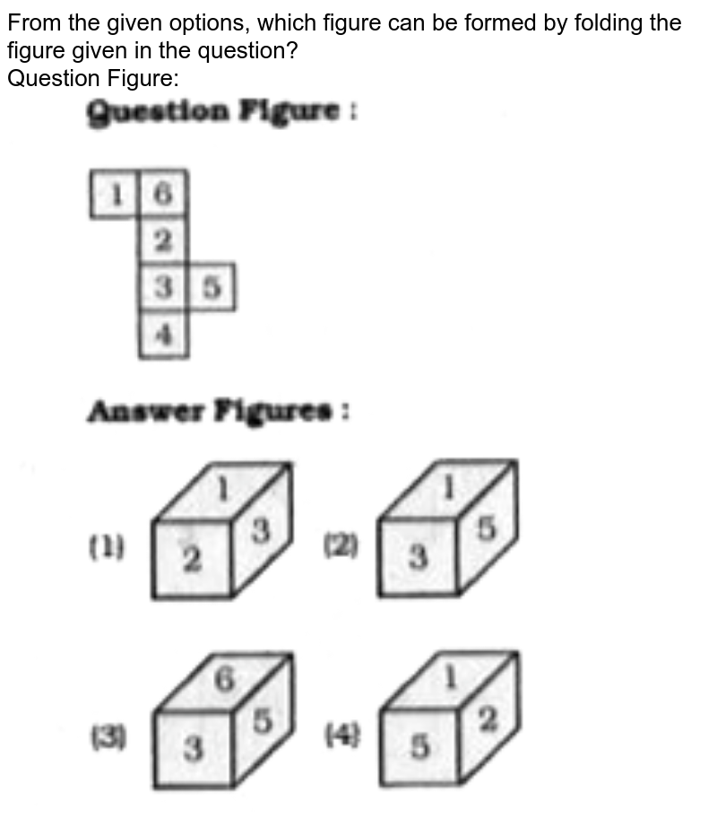 """From the given options, which figure can be formed by folding the figure given in the question? <br> Question Figure:  <br> <img src=""""https://doubtnut-static.s.llnwi.net/static/physics_images/KRN_SSC_REAS_SP_C15_E02_103_Q01.png"""" width=""""80%"""">"""