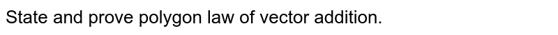 State and prove polygon law of vector addition.