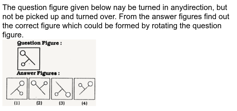"""The question figure given below nay be turned in anydirection, but not be picked up and turned over. From the answer figures find out the correct figure which could be formed by rotating the question figure. <br> <img src=""""https://doubtnut-static.s.llnwi.net/static/physics_images/KRN_SSC_REAS_SP_C25_E01_003_Q01.png"""" width=""""40%"""">"""
