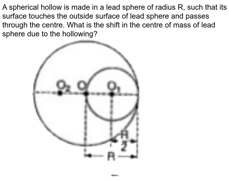 """A spherical hollow is made in a lead sphere of radius R, such that its surface touches the outside surface of lead sphere and  passes through the centre. What is the shift in the centre of mass of lead sphere due to the hollowing? <br> <img src=""""https://doubtnut-static.s.llnwi.net/static/physics_images/BRL_JEE_MN_ADV_PHY_XI_V02_C03_E03_019_Q01.png"""" width=""""80%"""">"""