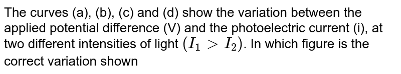 The curves (a), (b), (c) and (d) show the variation between the applied potential difference (V) and the photoelectric current (i), at two different intensities of light `(I_1 gt I_2)`. In which figure is the correct variation shown