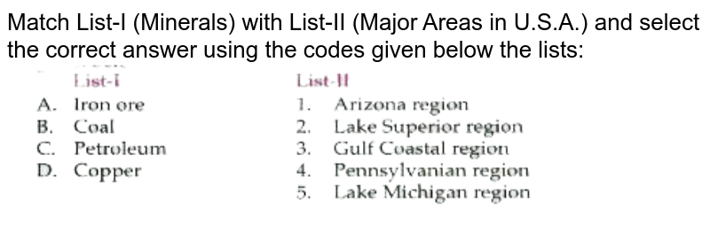 """Match List-I (Minerals) with List-II (Major Areas in U.S.A.) and select the correct answer using the codes given below the lists: <br> <img src=""""https://doubtnut-static.s.llnwi.net/static/physics_images/LUC_OBJ_GK_ECO_GEO_C01_E01_026_Q01.png"""" width=""""80%"""">"""