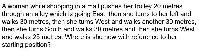 A woman while shopping in a mall pushes her trolley 20 metres through an alley which is going East, then she turns to her left and walks 30 metres, then she turns West and walks another 30 metres, then she turns South and walks 30 metres and then she turns West and walks 25 metres. Where is she now with reference to her starting position?