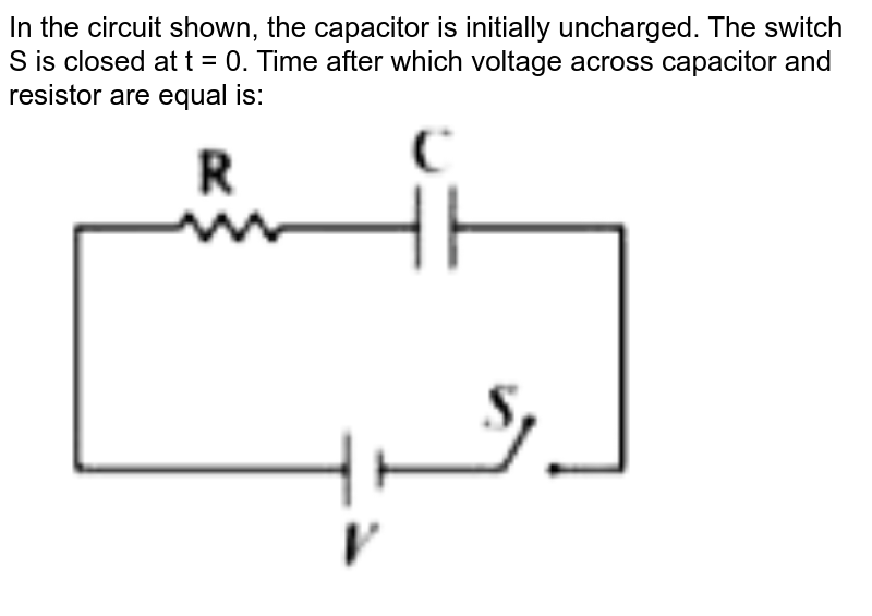 """In the circuit shown, the capacitor is initially uncharged. The switch S is closed at t = 0. Time after which  voltage across capacitor and resistor are equal is: <br> <img src=""""https://doubtnut-static.s.llnwi.net/static/physics_images/VMC_JEE_MN_XII_FLT_07_E01_009_Q01.png"""" width=""""80%"""">"""