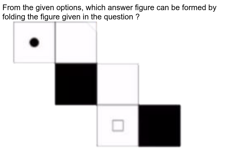 """From the given options, which answer figure can be formed by folding the figure given in the question ? <br> <img src=""""https://doubtnut-static.s.llnwi.net/static/physics_images/SSC_CPO_PYP_T1_06_JUL_17_I_E01_036_Q01.png"""" width=""""80%"""">"""
