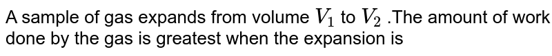 A sample of gas expands from volume `V_(1)` to `V_(2)` .The amount of work done by the gas is greatest when the expansion is