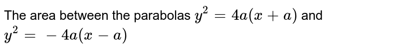 The area between the parabolas `y^2= 4a(x+a)` and `y^2=-4a(x-a)`