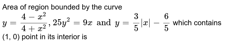 Area of region bounded by the curve `y=(4-x^(2))/(4+x^(2)), 25y^(2)=9x and y=(3)/(5)|x|-(6)/(5)` which contains (1, 0) point in its interior is