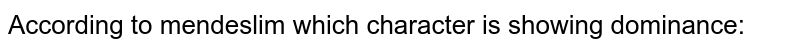 According to mendeslim which character is showing dominance: