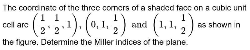 The coordinate of the three corners of a shaded face on a cubic unit cell are ` (1/2 , 1/2 ,1) , ( 0,1, 1/2) and ( 1,1, 1/2)` as shown in the figure. Determine the Miller indices of the plane.