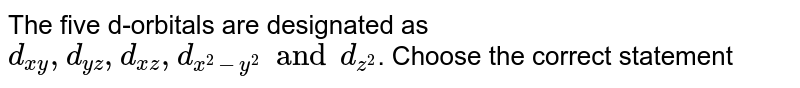 The five d-orbitals are designated as `d_(xy), d_(yz), d_(xz), d_(x^(2) - y^(2)) and d_(z^(2))`. Choose the correct statement
