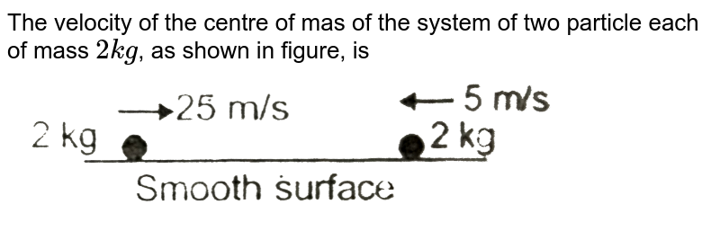"""The velocity of the centre of mas of the system of two particle each of mass `2kg`, as shown in figure, is <br> <img src=""""https://d10lpgp6xz60nq.cloudfront.net/physics_images/AAK_T2_PHY_C07_E02_003_Q01.png"""" width=""""80%"""">"""