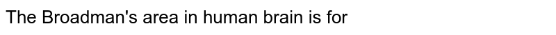 The Broadman's area in human brain is for