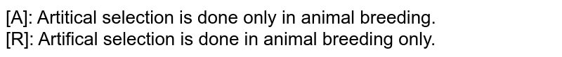 [A]: Artitical selection is done only in animal breeding.  <br>   [R]: Artifical selection is done in animal breeding only.