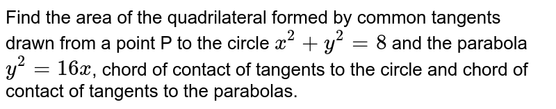 Find the area of the quadrilateral formed by common tangents drawn from a point P to the circle `x^(2) + y^(2) = 8` and the parabola `y^(2) =16x`, chord of contact of tangents to the circle and chord of contact of tangents to the parabolas.