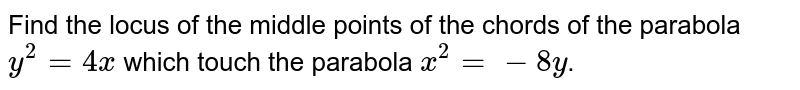 Find the locus of the middle points of the chords of the parabola `y^(2) = 4x` which touch the parabola `x^(2) = -8y`.