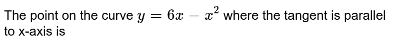The point on the curve `y=6x-x^(2)` where the tangent is parallel to x-axis is