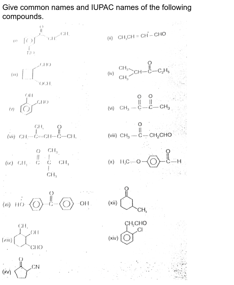 """Give common names and IUPAC names of the following compounds. <br>  <img src=""""https://d10lpgp6xz60nq.cloudfront.net/physics_images/AAK_T7_CHE_C26_E11_001_Q01.png"""" width=""""80%"""">"""