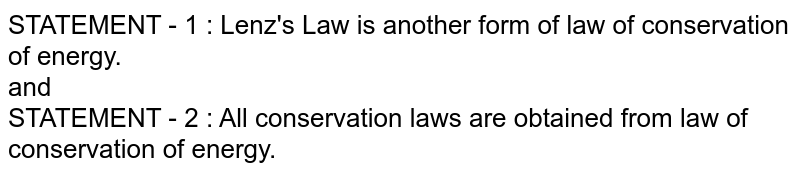 STATEMENT - 1 : Lenz's Law is another form of law of conservation of energy. <br> and <br> STATEMENT - 2 : All conservation laws are obtained from law of conservation of energy.
