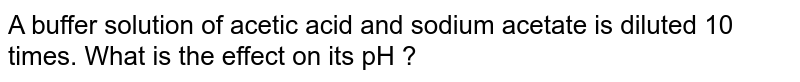 A buffer solution of acetic acid and sodium acetate is diluted 10 times. What is the effect on its  pH ?