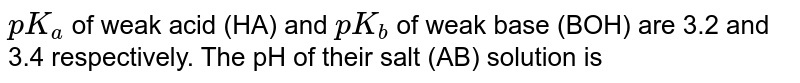 `pK_(a)` of weak acid (HA) and `pK_(b)` of weak base (BOH) are 3.2 and 3.4 respectively. The pH of their salt (AB) solution is