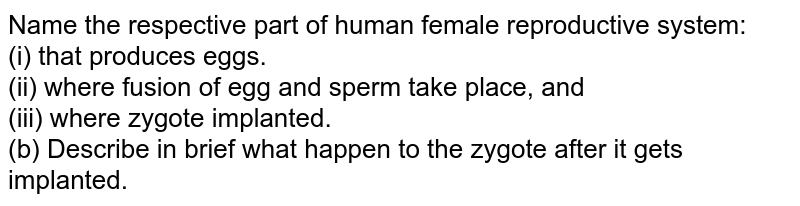 Name the respective part of human female reproductive system: <br> (i) that produces eggs. <br> (ii) where fusion of egg and sperm take place, and <br> (iii) where zygote implanted. <br> (b) Describe in breif what happen to the zygote after it gets implanted.