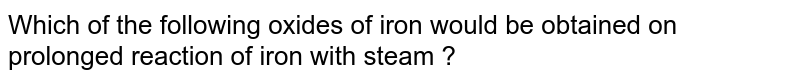 Which of the following oxides of iron would be obtained on prolonged reaction of iron with steam ?
