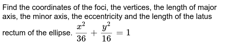 Find the coordinates of the foci, the vertices, the length of   major axis, the minor axis, the eccentricity and the length of the latus   rectum of the ellipse. `(x^2)/(36)+(y^2)/(16)=1`
