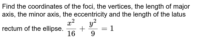 Find the coordinates of the foci, the vertices, the length of   major axis, the minor axis, the eccentricity and the length of the latus   rectum of the ellipse. `(x^2)/(16)+(y^2)/9=1`