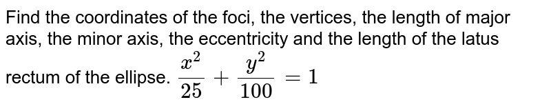 Find the coordinates of the foci, the vertices, the length of   major axis, the minor axis, the eccentricity and the length of the latus   rectum of the ellipse. `(x^2)/(25)+(y^2)/(100)=1`