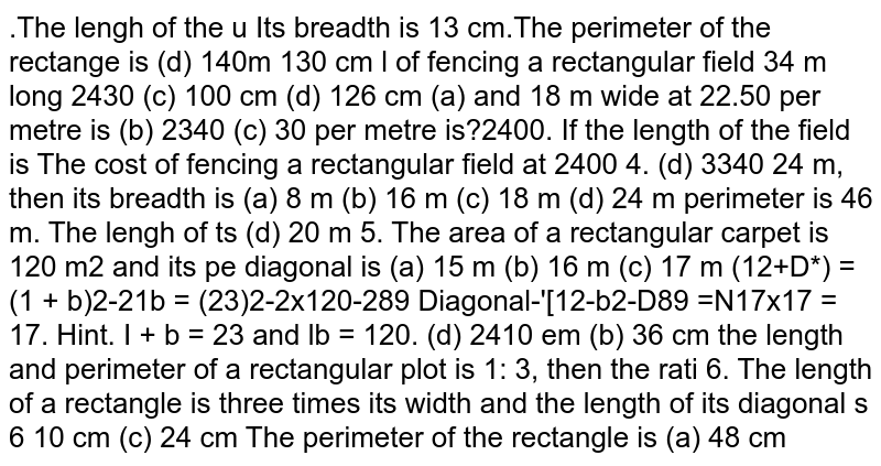 The cost of fencing a rectangular field at Rs.30 per metre is Rs.2400. If the length of the field to diagonal is 24 m , find its breadth