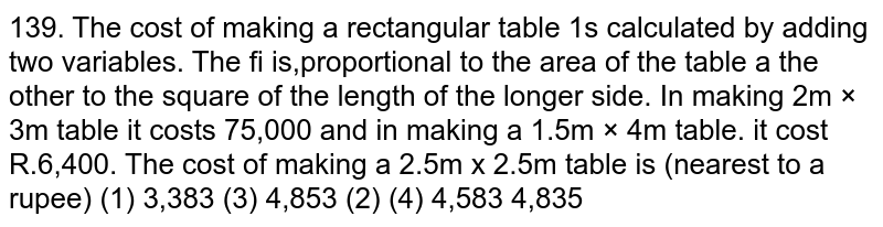 The cost of making a rectangular table is calculated by adding two variables. The first is proportional to the area of the table and the other to the square of the length of the longer side. In making  `2m xx 3m` table it costs 5,000 and in making a `1.5m xx 4m` table, it cost 6,400. The cost of making a `2.5m xx 2.5m` table is (nearest to a rupee)