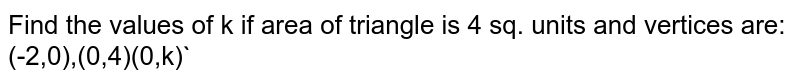 Find the values of k if area of triangle is 4 sq. units and vertices are: (-2,0),(0,4)(0,k)`
