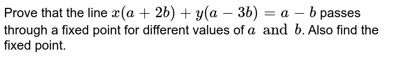 Prove that the line `x(a+2b) + y (a-3b)=a-b` passes through a fixed point for different values of `a and b`. Also find the fixed point.