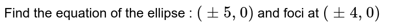Find the equation of the ellipse : `(+- 5, 0)` and foci at `(+- 4, 0)`