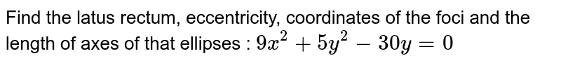 Find the latus rectum, eccentricity, coordinates of the foci and the length of axes of that ellipses : `9x^2 + 5y^2 - 30y=0`