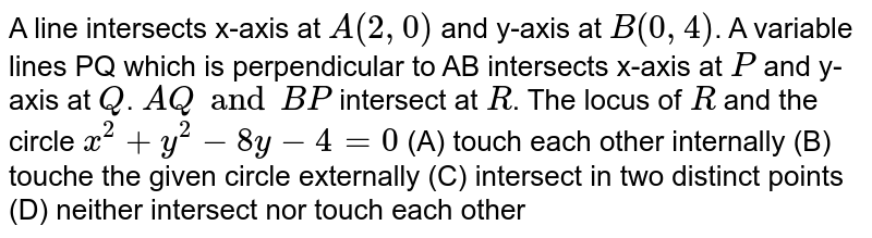 A line intersects x-axis at `A(2, 0)` and y-axis at `B(0, 4)`. A variable lines PQ which is perpendicular to AB intersects x-axis at `P` and y-axis at `Q`. `AQ and BP` intersect at `R`. The locus of `R` and the circle `x^2 + y^2 - 8y - 4 = 0` (A) touch each other internally (B) touche the given circle externally (C) intersect in two distinct points (D) neither intersect nor touch each other