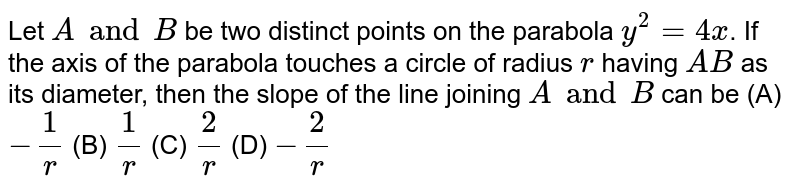 Let `A and B` be two distinct points on the parabola `y^2 = 4x`. If the axis of the parabola touches a circle of radius `r` having `AB` as its diameter, then the slope of the line joining `A and B` can be (A) `- 1/r` (B) `1/r` (C) `2/r` (D) `- 2/r`