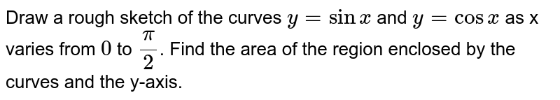 Draw a rough sketch of the curves `y=sinx` and `y=cosx` as x varies from `0` to `pi/2`. Find the area of the region enclosed by the curves and the y-axis.