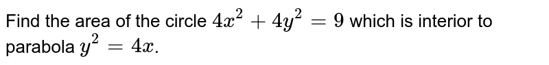 Find the area of the circle `4x^2+4y^2=9` which is interior to parabola `y^2=4x`.